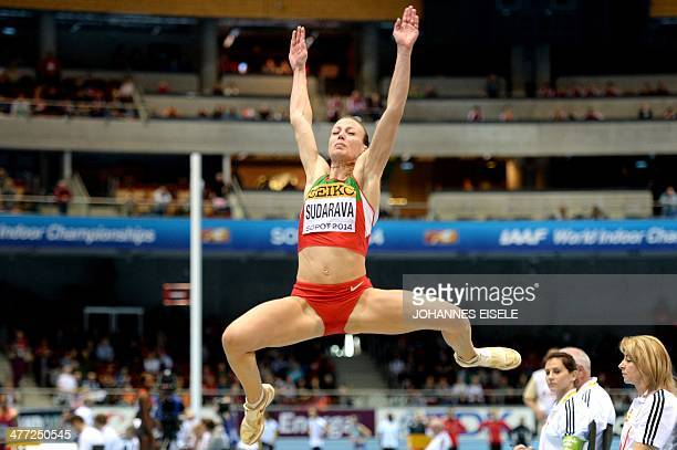 Belarus' Volha Sudarava competes in the Women's Long Jump qualification group A event at the IAAF World Indoor Athletics Championships in the Ergo...