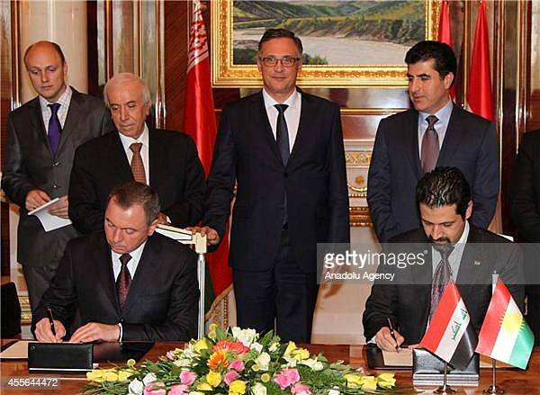 Belarusian Foreign Minister Vladimir Makei and the Deputy Prime Minister of the Kurdish Regional Government Kubat Talabani sign a memorandum of...