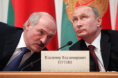 Belarusian President Alexander Lukashenko and Russian President Vladimir Putin attend a meeting October 24 2013 in Minsk Belarus Leaders of Russia...