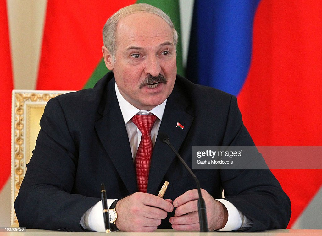 Belarusian President Alexander Lukashenko attends a meeting with Russian President Vladimir Putin at Konstantinovsky Palace on March 15, 2013 in Saint Petersburg, Russia. Putin and Lukashenko met as part of the Union State's Supreme State Council summit.