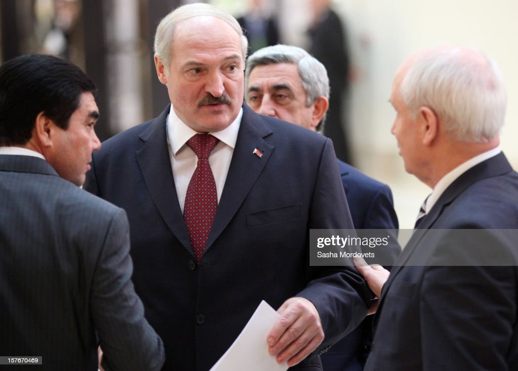 Belarusian President <a gi-track='captionPersonalityLinkClicked' href=/galleries/search?phrase=Alexander+Lukashenko&family=editorial&specificpeople=542572 ng-click='$event.stopPropagation()'>Alexander Lukashenko</a> (2L) attends a session of the Commonwealth of the Independent States (CIS) Summit on December 5, 2012 in Ashgabat, Turkmenistan. Leaders of former Soviet republics gathered for the CIS Summit where President Putin stated he will defend the CIS at future G8 and G20 meetings.