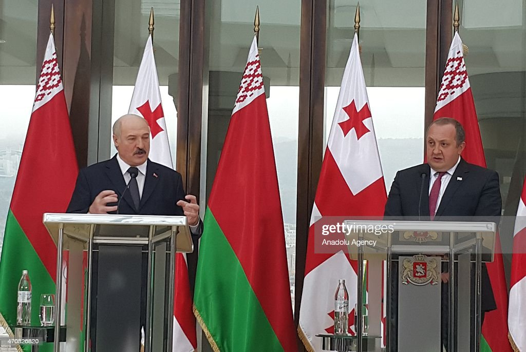 Belarusian President <a gi-track='captionPersonalityLinkClicked' href=/galleries/search?phrase=Alexander+Lukashenko&family=editorial&specificpeople=542572 ng-click='$event.stopPropagation()'>Alexander Lukashenko</a> (L) delivers a speech during a joint press conference with Georgian President <a gi-track='captionPersonalityLinkClicked' href=/galleries/search?phrase=Giorgi+Margvelashvili&family=editorial&specificpeople=10916956 ng-click='$event.stopPropagation()'>Giorgi Margvelashvili</a> (R) at the presidential palace in Tbilisi, Georgia on April 23, 2015.