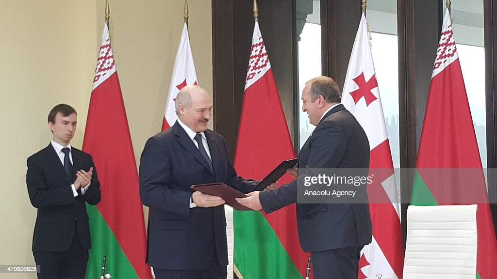 Belarusian President <a gi-track='captionPersonalityLinkClicked' href=/galleries/search?phrase=Alexander+Lukashenko&family=editorial&specificpeople=542572 ng-click='$event.stopPropagation()'>Alexander Lukashenko</a> (C) meets Georgian President <a gi-track='captionPersonalityLinkClicked' href=/galleries/search?phrase=Giorgi+Margvelashvili&family=editorial&specificpeople=10916956 ng-click='$event.stopPropagation()'>Giorgi Margvelashvili</a> (R) at the presidential palace during his official visit in Tbilisi, Georgia on April 23, 2015.
