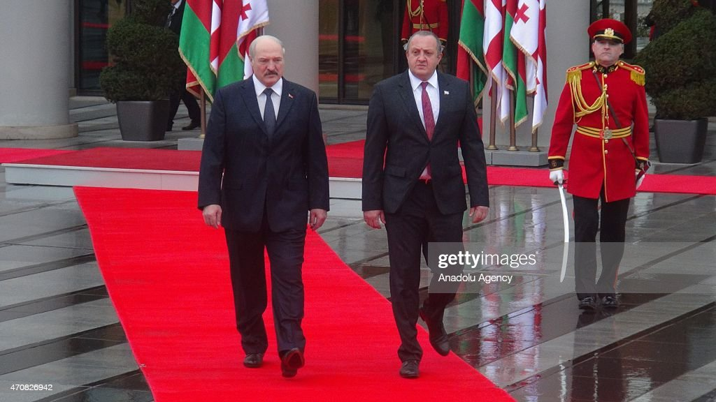 Belarusian President <a gi-track='captionPersonalityLinkClicked' href=/galleries/search?phrase=Alexander+Lukashenko&family=editorial&specificpeople=542572 ng-click='$event.stopPropagation()'>Alexander Lukashenko</a> (L) meets Georgian President <a gi-track='captionPersonalityLinkClicked' href=/galleries/search?phrase=Giorgi+Margvelashvili&family=editorial&specificpeople=10916956 ng-click='$event.stopPropagation()'>Giorgi Margvelashvili</a> (R) at the presidential palace during his official visit in Tbilisi, Georgia on April 23, 2015.