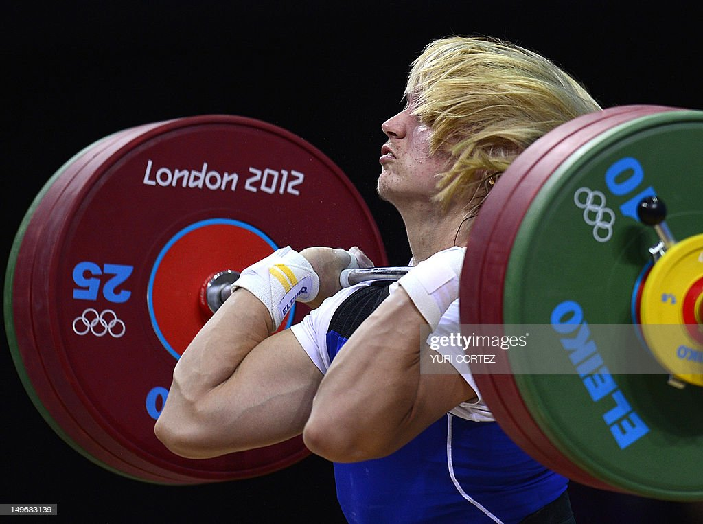 Belarus's Maryna Shkermankova competes for the bronze medal during the women's 69kg group A weightlifting event at The Excel Centre in London on August 1, 2012 during the London 2012 Olympic Games.