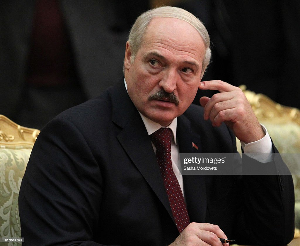 Belarus's President <a gi-track='captionPersonalityLinkClicked' href=/galleries/search?phrase=Alexander+Lukashenko&family=editorial&specificpeople=542572 ng-click='$event.stopPropagation()'>Alexander Lukashenko</a> attends a session of CIS Summit on December, 5, 2012 in Ashgabat, Turkmenistan. Leaders of former Soviet republics gathered for the Commonwealth of the Independent States Summit where President Putin stated he will defend the CIS at future G8 and G20 meetings.