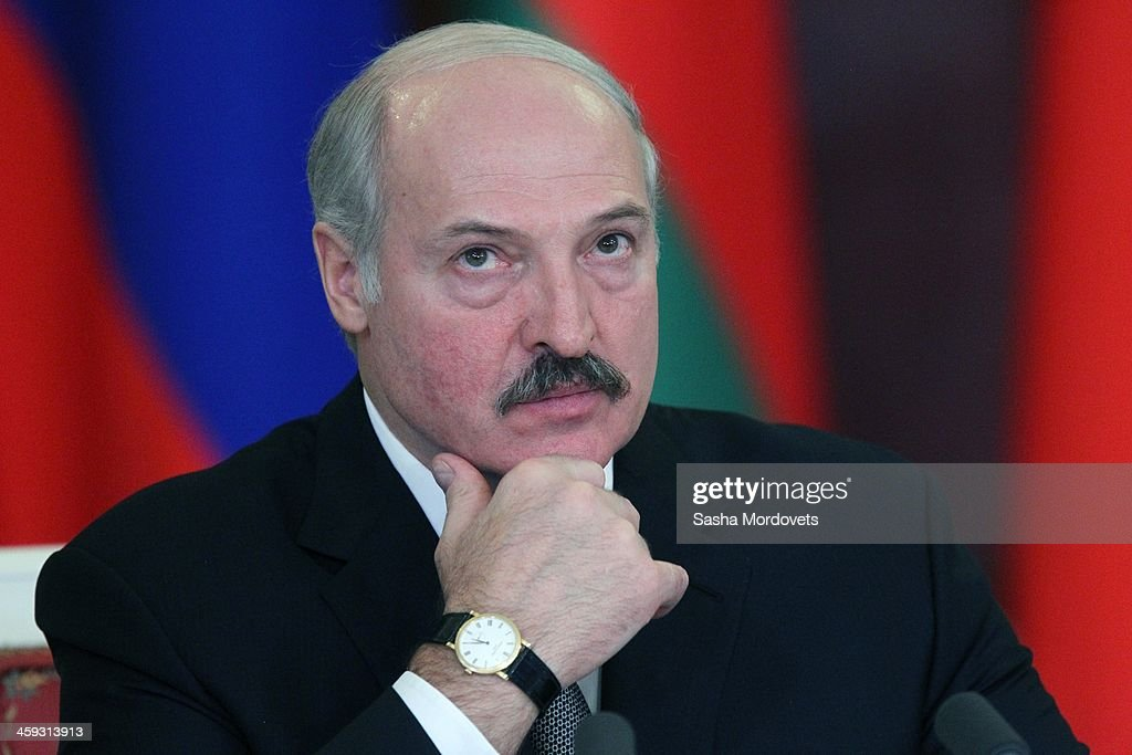 Belarussian President Alexander Lukashenko attends a joint press conference after the Supreme State Council of Russia and Belarus on December 25 2013...