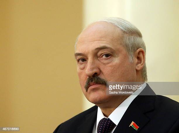 Belarussian President Alexander Lukashenko attends the congress of Russian Union of Industrialists and Entrepreneurs on March 20 2015 in Astana...