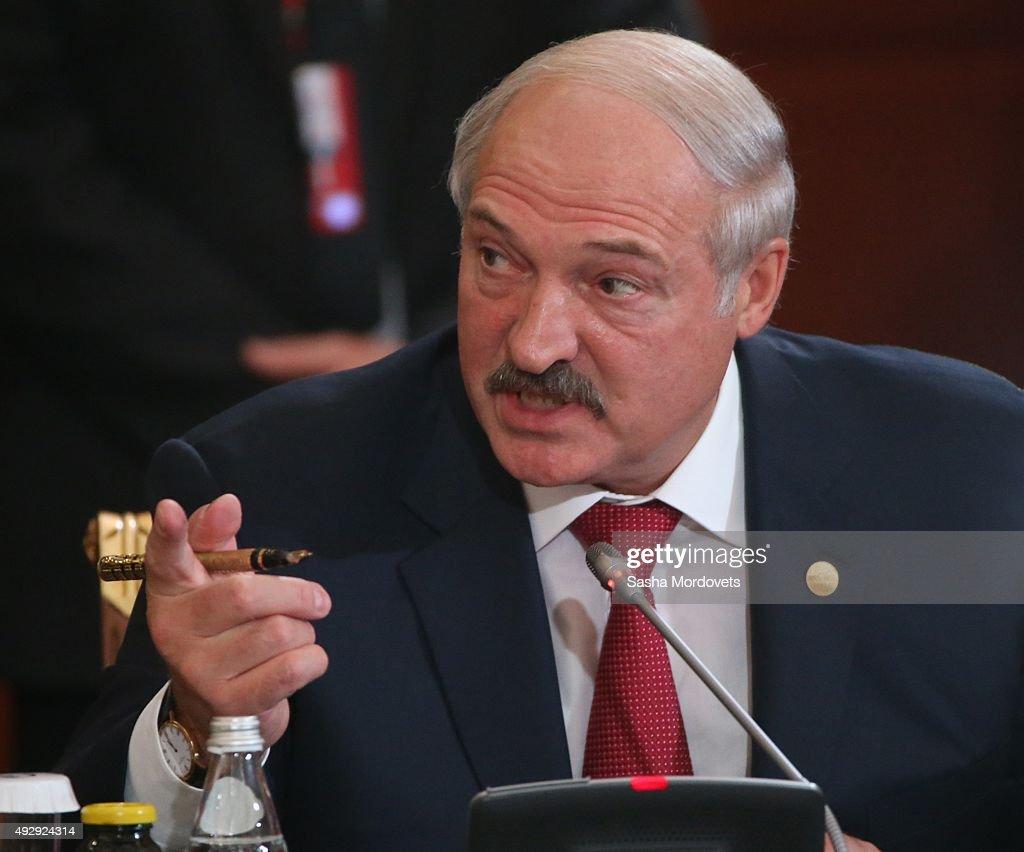 Belarussian President Alexander Lukashenko attends the Eurasian Economic Union Summit on October 16 2015 in Burabay Kazakhstan Leaders of 10...