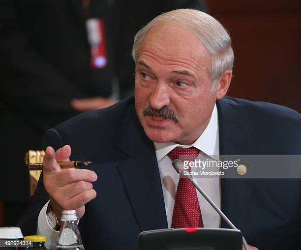Belarussian President Alexander Lukashenko attends the Eurasian Economic Union Summit on October 16 2015 in Burabay Kazakhstan Leaders of 10...