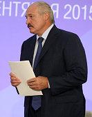 Belarussian President Alexander Lukashenko attends the Second Forum of Regions of Russia and Belarus on September 18 2015 in Sochi Russia Putin said...