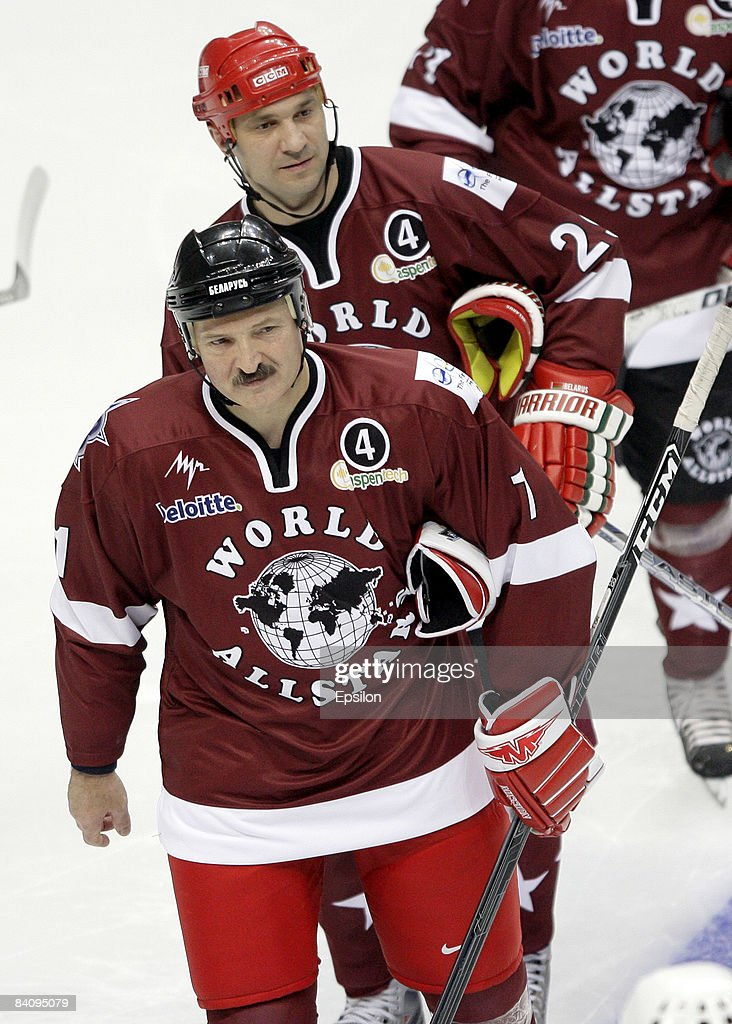Belarussian President Alexander Lukashenko in action during the match between World Ice Hockey Stars and HC Gazprom Export at the Megasport Arena on December 19, 2008 in Moscow, Russia. The friendly match was dedicated to the legendary hockey coach, Anatoly Tarasov of Russia.