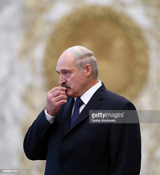 Belarussian President Alexander Lukashenko is seen during the Summit of the Commonwealth of Independent States in Minsk on October 10 2014 in Minsk...