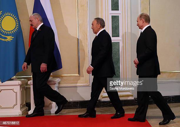 Belarussian President Alexander Lukashenko Kazakh President Nursultan Nazarbayev Russian President Vladimir Putin attend the congress of Russian...