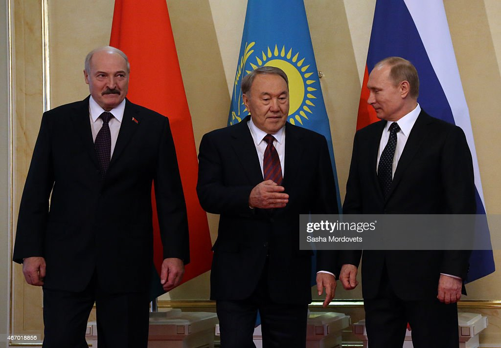 Belarussian President <a gi-track='captionPersonalityLinkClicked' href=/galleries/search?phrase=Alexander+Lukashenko&family=editorial&specificpeople=542572 ng-click='$event.stopPropagation()'>Alexander Lukashenko</a>, Kazakh President <a gi-track='captionPersonalityLinkClicked' href=/galleries/search?phrase=Nursultan+Nazarbayev&family=editorial&specificpeople=4556028 ng-click='$event.stopPropagation()'>Nursultan Nazarbayev</a>, Russian President <a gi-track='captionPersonalityLinkClicked' href=/galleries/search?phrase=Vladimir+Putin&family=editorial&specificpeople=154896 ng-click='$event.stopPropagation()'>Vladimir Putin</a> attend the congress of Russian Union of Industrialists and Entrepreneurs on March 20, 2015 in Astana, Kazakhstan.Russian President <a gi-track='captionPersonalityLinkClicked' href=/galleries/search?phrase=Vladimir+Putin&family=editorial&specificpeople=154896 ng-click='$event.stopPropagation()'>Vladimir Putin</a> is in town for talks to investigate incepting a currency union between Kazakhstan Belarus and Russia.