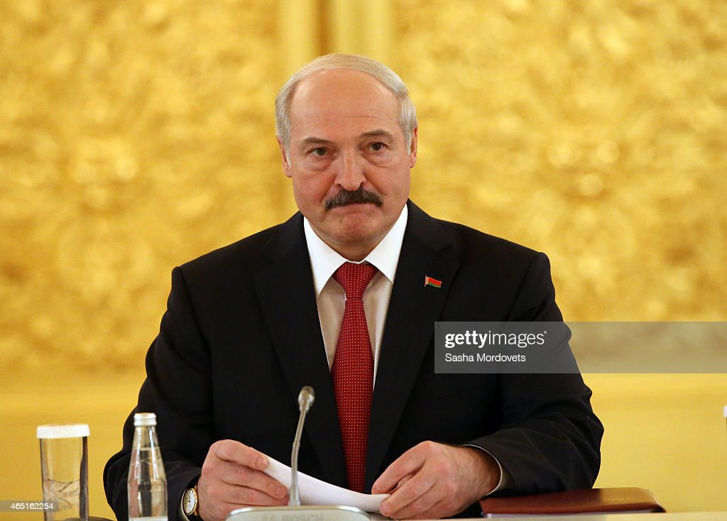Belarussian President Alexander Lukashenko meets with Russian President Vladimir Putin in the Grand Kremlin Palace March 3 2015 in Moscow Russia...