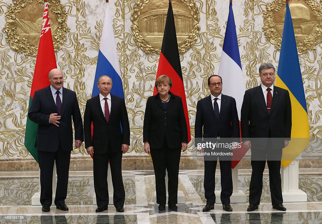 Belarussian President Alexander Lukashenko, Russian President Vladimir Putin, German Chancellor <a gi-track='captionPersonalityLinkClicked' href=/galleries/search?phrase=Angela+Merkel&family=editorial&specificpeople=202161 ng-click='$event.stopPropagation()'>Angela Merkel</a>, French President Francois Hollande and Ukrainian President Pyotr Poroshenko pose for a photo during a summit on February 11, 2015 in Minsk, Belarus. The world leaders met to discuss a cease-fire in the Ukraine.