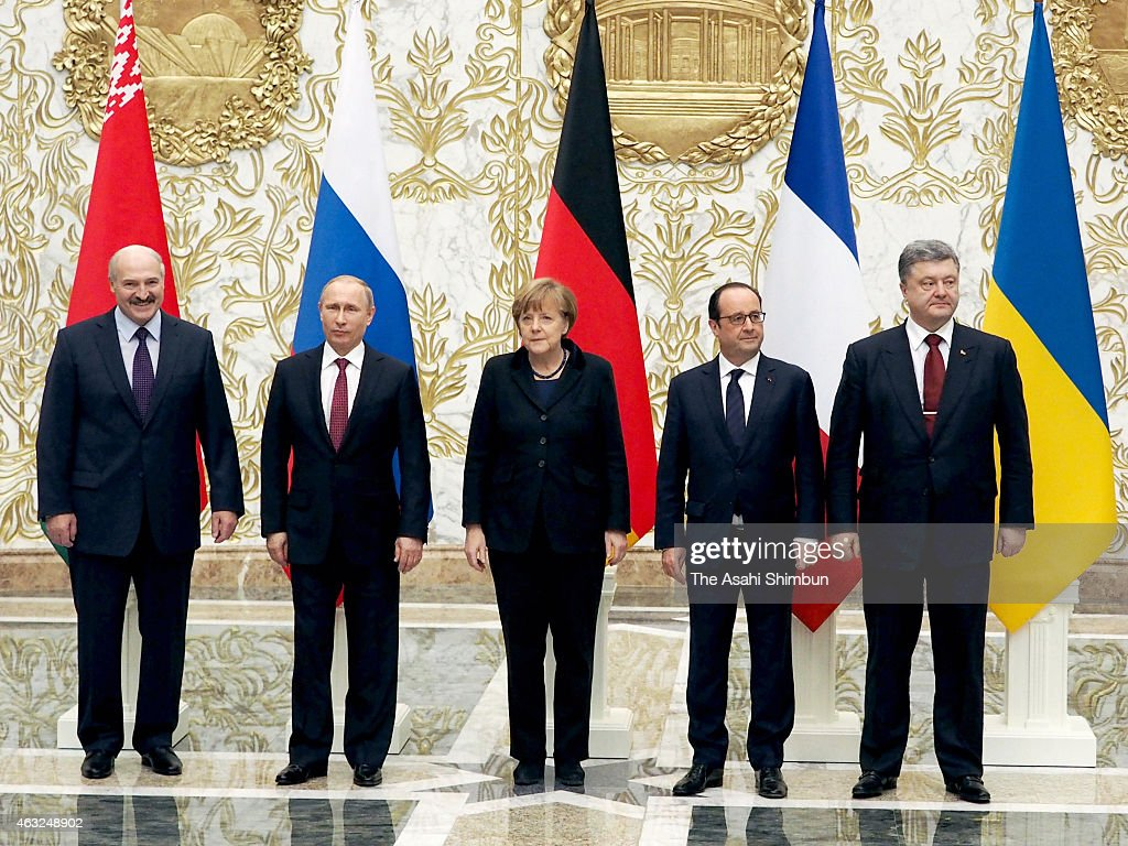 Belarussian President Alexander Lukashenko Russian President Vladimir Putin German Chancellor Angela Merkel French President Francois Hollande and...
