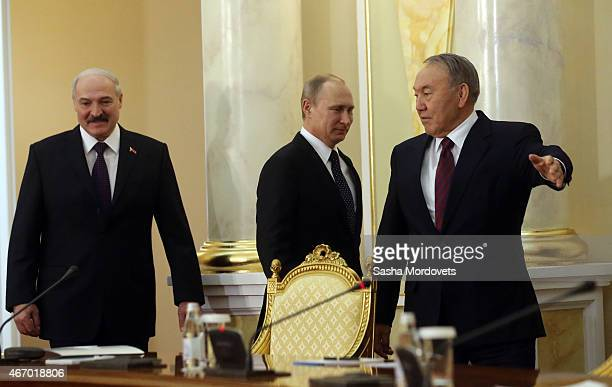 Belarussian President Alexander Lukashenko Russian President Vladimir Putin and Kazakh President Nursultan Nazarbayev attend the congress of Russian...