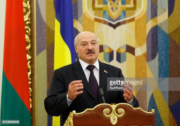 Belarussian President Alexander Lukashenko speaks during a pressconference with Ukrainian President Petro Poroshenko in Kiev Ukraine 21 July 2017