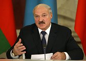 Belarussian President Alexander Lukashenko speaks during the Summit of Collective Security Treaty Organisation at the Grand Kremlin Palace on...