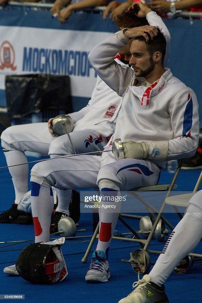 Belaud Valentin of France is seen during the men's fencing final at the World Championship in modern pentathlon at Olympic Sports Complex in Moscow, Russia, on May 28, 2016.