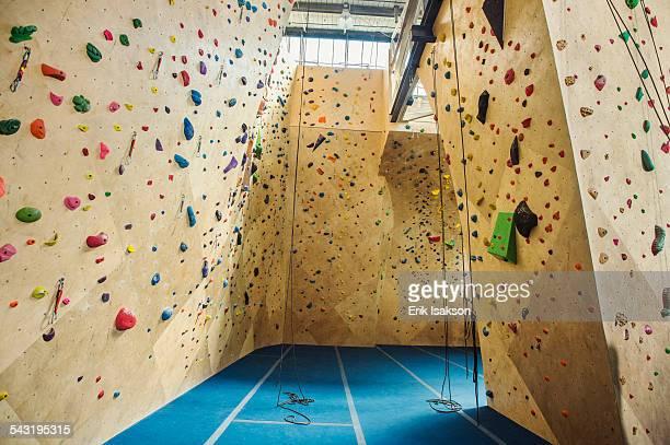 Belay ropes hanging near indoor rock wall