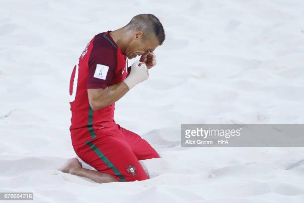 Belchior of Portugal celebrates a goal during the FIFA Beach Soccer World Cup Bahamas 2017 group C match between United Arab Emirates UAE and...