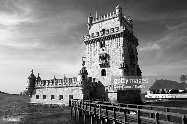 Belem Tower Against Cloudy Sky