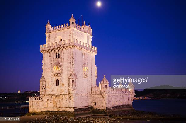 Belem Tower in Lisbon, Portugal at night