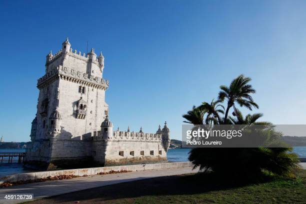 Belem Tower is seen on December 23 2013 in Lisbon Portugal The tower is a fortified tower located in the civil parish of Santa Maria de Belem in the...