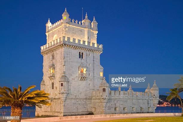 Belem Tower, Lisbon, Portugal, UNESCO World Heritage Site, twilight