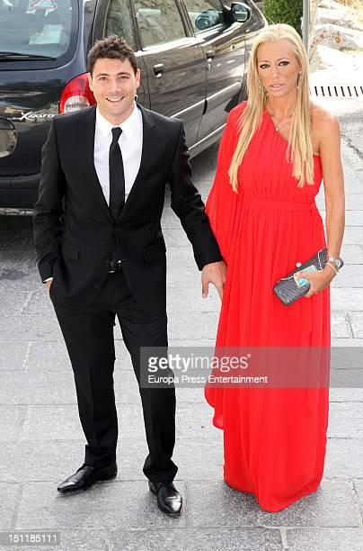 Belen Esteban and Fran Alvarez attend Tono Sanchis and Lorena Romero's wedding in Cercedilla on September 1 2012 in Madrid Spain