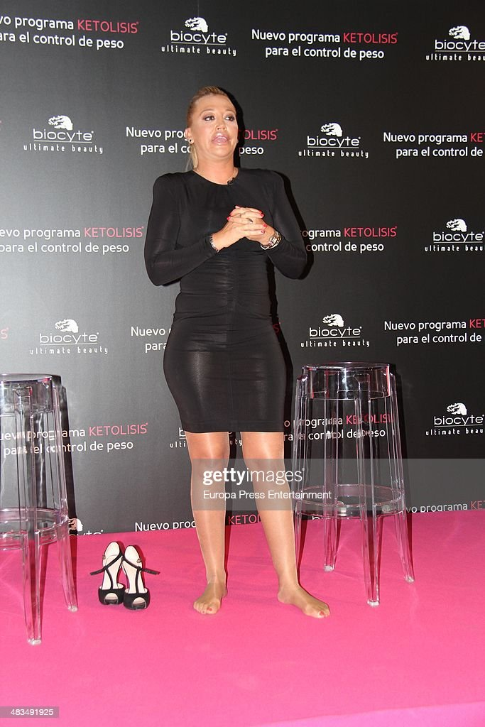 Belen Esteban is the new image for the weight control method 'Ketolysis' on April 8, 2014 in Madrid, Spain.