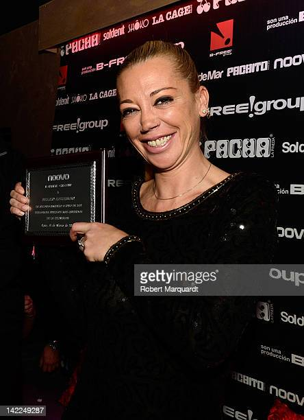 Belen Esteban receives an award for 'Best loved TV personality' at the Noovo discoteca on March 31 2012 in Reus Spain