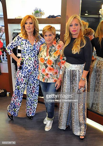 Belen Esteban Rosa Benito and Chelo Garcia Cortes are seen in the shop window of Kabak on May 12 2016 in Madrid Spain