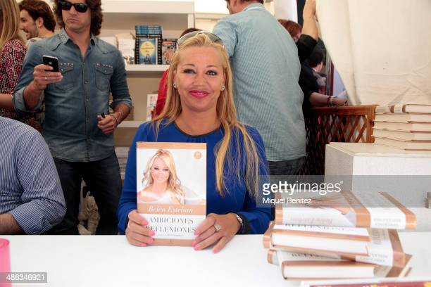 Belen Esteban signs books at Portal del Angel boulevard on 'Sant Jordi's day' or 'Saint George's day' where traditionally Catalans give women roses...