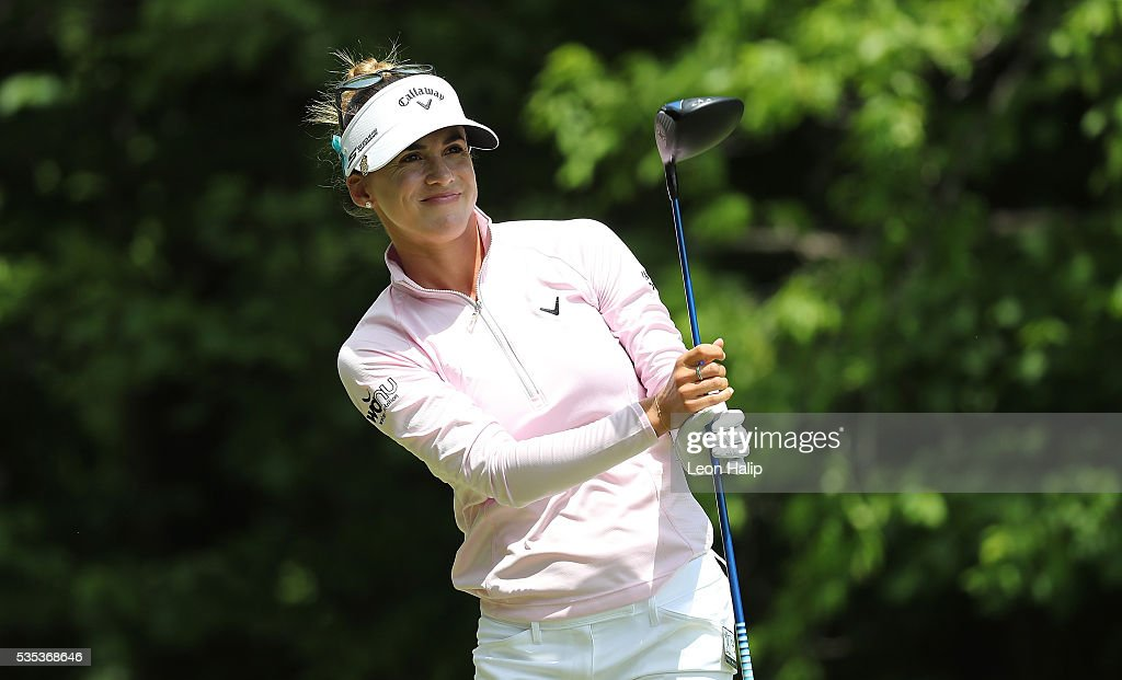 <a gi-track='captionPersonalityLinkClicked' href=/galleries/search?phrase=Belen+Mozo&family=editorial&specificpeople=994935 ng-click='$event.stopPropagation()'>Belen Mozo</a> from Spain hits her tee shot on the fifth hole during the final round of the LPGA Volvik Championship on May 29, 2016 at Travis Pointe Country Club Ann Arbor, Michigan.