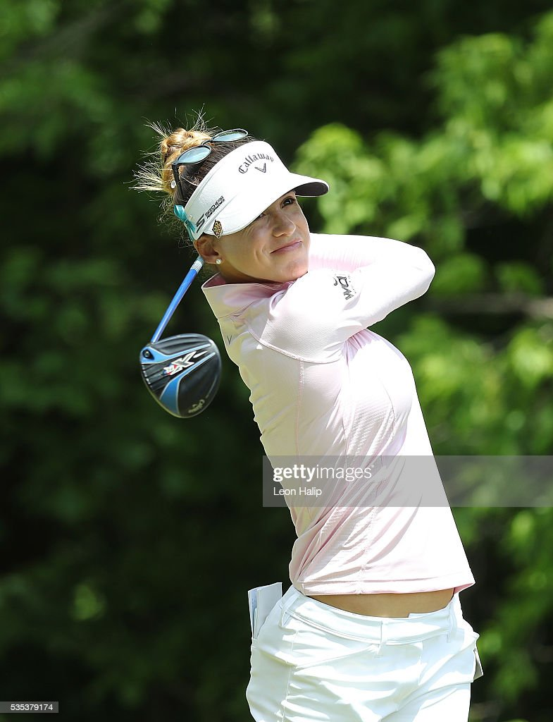 Belen Mozo from Spain hits her tee shot on the fifth hole during the final round of the LPGA Volvik Championship on May 29, 2016 at Travis Pointe Country Club in Ann Arbor, Michigan.