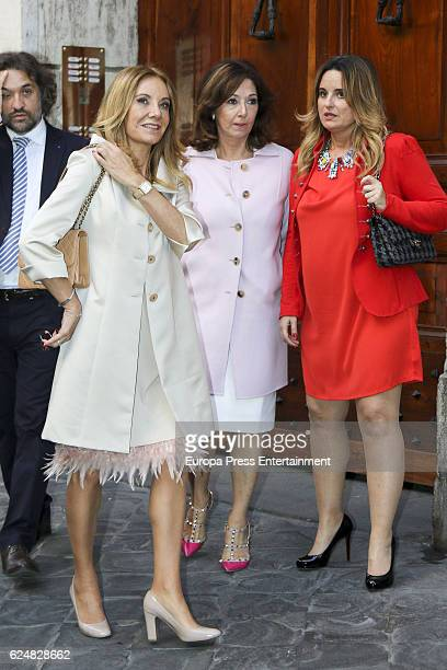 Belen Rodriguez and Ana Rosa Quintana attend the christening of Count Alessandro Lequio and Maria Palacios's daughter Ginevra Lequio on November 19...