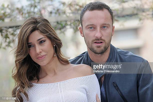 Belen Rodriguez and Francesco Facchinetti attend 'Ciak Si Canta' Italian TV Program Press Conference held at Westin Palace Hotel on April 4 2011 in...