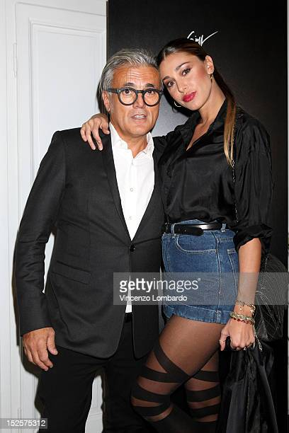 Belen Rodriguez and Giuseppe Zanotti attend Vicini Presentation as part of Milan Fashion Week Womenswear Spring/Summer 2013 on September 22 2012 in...