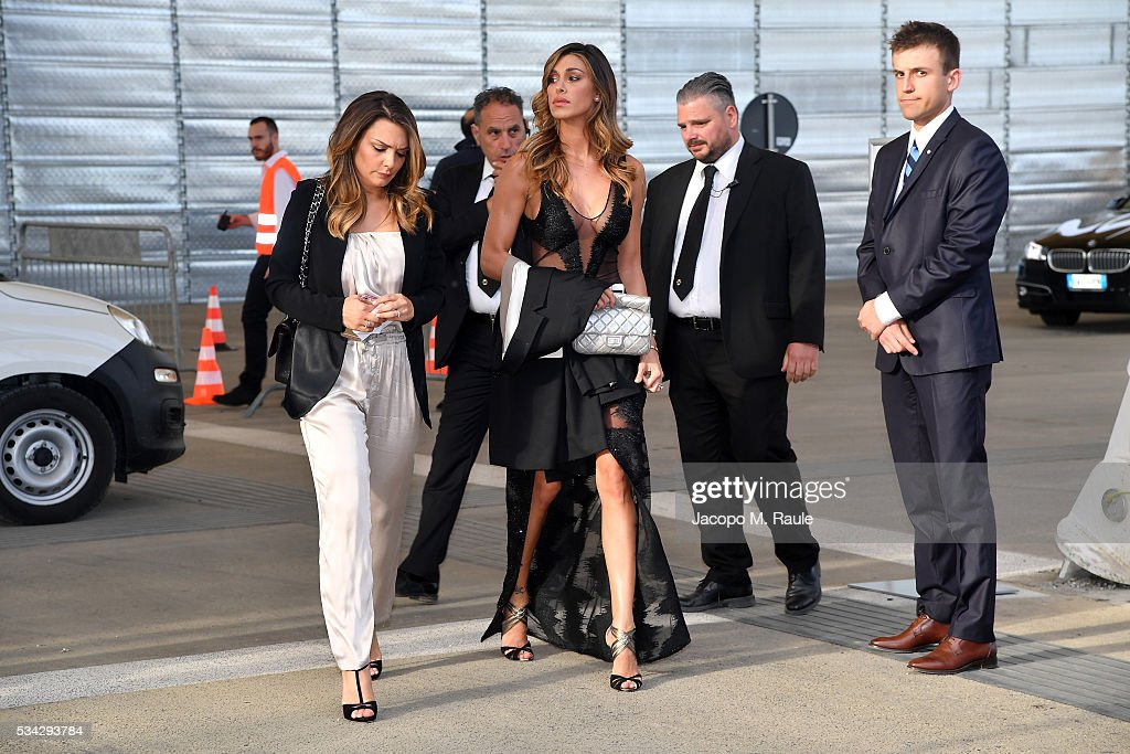Belen Rodriguez and guests arrive at Bocelli and Zanetti Night on May 25, 2016 in Rho, Italy.