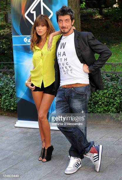 R Belen Rodriguez and Paolo Ruffini attend 'Colorado' Italian TV Show Photocall on September 14 2011 in Milan Italy