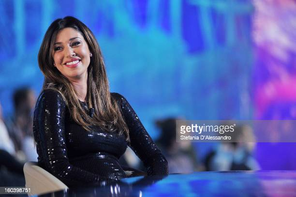 Belen Rodriguez attends 'Le Invasioni Barbariche' Italian TV Show on January 30 2013 in Milan Italy