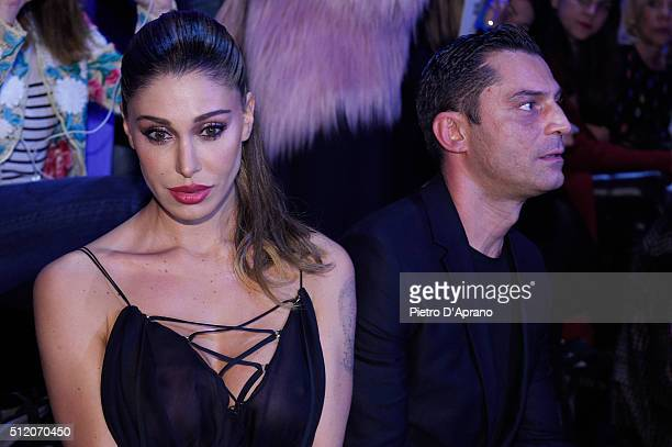 Belen Rodriguez attends the Fausto Puglisi show during Milan Fashion Week Fall/Winter 2016/17 on February 24 2016 in Milan Italy