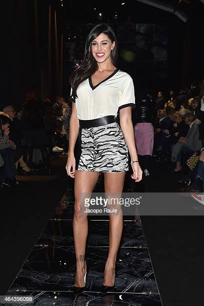 Belen Rodriguez attends the Fausto Puglisi show during the Milan Fashion Week Autumn/Winter 2015 on February 25 2015 in Milan Italy