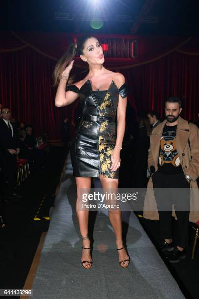 Belen Rodriguez attends the Moschino show during Milan Fashion Week Fall/Winter 2017/18 on February 23 2017 in Milan Italy