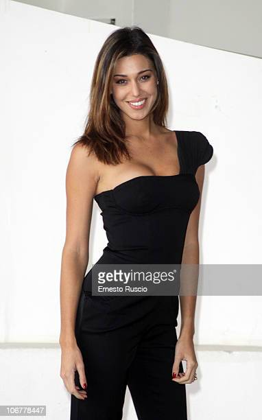 Belen Rodriguez during the visit on the set of 'Se sei cositi dico si' Film on November 12 2010 in Rome Italy