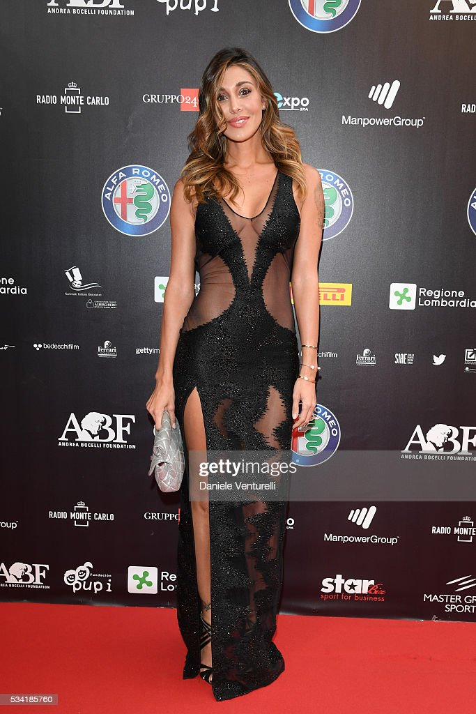 Belen Rodriguez walks the red carpet of Bocelli and Zanetti Night on May 25, 2016 in Rho, Italy.
